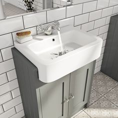 The Bath Co. Dulwich stone grey semi recessed vanity with basin 600mm - £242.1