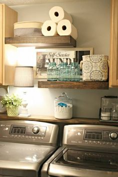 Rustic Wood Laundry Supply Shelving