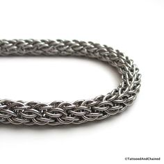 Stainless steel wallet chain. Chainmaille weave Candy Cane Cord - Tattooed and Chained Chainmaille