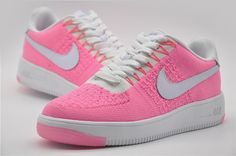 Nike Air Force 1 Flyknit Low Pink Runing Shoes #Nike #RunningCrossTraining