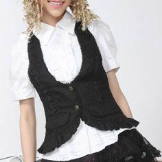 Women Black Fringe Gothic Lolita Fashion Dress Clothing Vest Waistcoat SKU-11401539