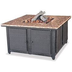 Amazon Com Fire Pit Table With Granite Top And Lazy Susan