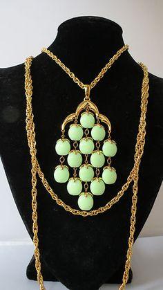 VTG Crown Trifari Mint Green Waterfall Triple Strand Chain Necklace Rare Color