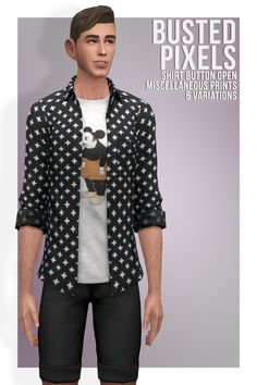 Shirt Button Open Miscellaneous Prints at Busted Pixels via Sims 4 Updates  Check more at http://sims4updates.net/clothing/shirt-button-open-miscellaneous-prints-at-busted-pixels/