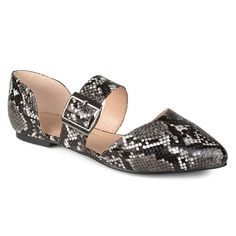 Journee Collection Esme Women's Flats, Oxford, ESMEBLACKSNAKE