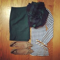 Striped Top, Pencil Skirt, Blackwatch Plaid Blanket Scarf, Leopard Flats | #workwear #officestyle #weekendwear #liketkit | http://www.liketk.it/KWOQ | IG: @whitecoatwardrobe