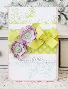 Rolled Dough Designs Challenge - Happy Birthday Card (Clay Covered Vellum Flowers) by Melissa Phillips for Papertrey Ink (August 2013)