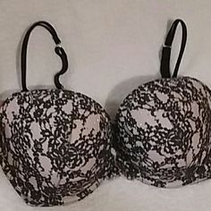 SALE! VS  Sexy Push Up 34DDD Beautiful blush pink underlay with black lace on top with AB stones on front of each cup...has 4 hook and eye..black straps..Bought several and never got to wear any.  Absolutely Beautiful..can't wear due to BC. *Fight like A Girl* Victoria's Secret Intimates & Sleepwear Bras
