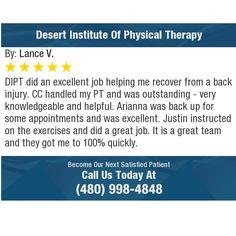 DIPT did an excellent job helping me recover from a back injury. CC handled my PT and was...