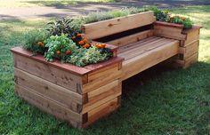 carré surelevé décoratif - banc en bois entouré de fleurs