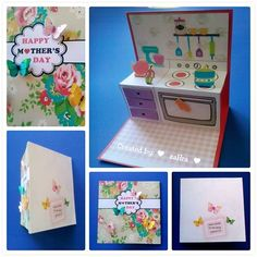 Pop up card kitchen for Mother's Day ♥ With 3D butterfly :)