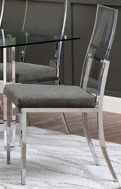 Furniture of America Casper Collection Side Chair (Set of in Chrome Clear Dining Chairs, Side Chairs, Chrome, America, Style Inspiration, Lights, Diy, House, Furniture