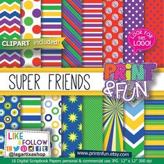 Super Heroes, Digital Paper, Patterns, clip art, Green, Blue, yellow, red, purple, chevron, dots, stars, stripes, party printables, invites
