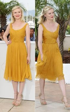 """Would love this dress in another color. Kirsten Dunst in yellow Chloe dress @ """"Melancholia"""" Photocall, Cannes 2011 Mustard Yellow Wedding, Mustard Yellow Dresses, Chloe Dress, Dress Up, Glamour, Bridesmaid Dress Colors, Bridesmaids, Look Formal, Kirsten Dunst"""