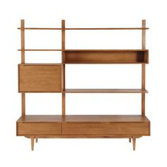 Regal/TV-Möbel im Vintage-Stil aus massiver Eiche, B 180cm - Portobello