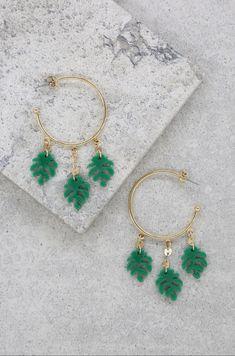 6fb87e6ed Mini Palm Leaf Hoops in Green and Gold – Ettika