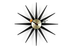 Sunburst Clock schwarz/messing