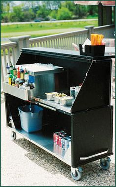 Stow-Away Portable Bar - Can DIY this with wheels, plywood, hinges and paint.