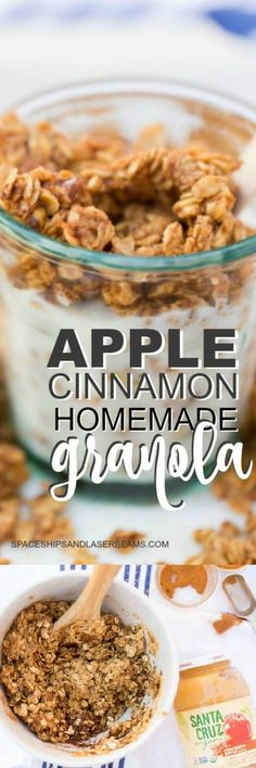 We absolutely love this homemade apple cinnamon granola recipe. It's so versatile! Whether you like it chewy or crunchy this homemade granola can be adapted to your specific taste. Not to mention that granola is super Cinnamon Granola Recipe, Apple Cinnamon, Nut Free Granola Recipe, Sugar Free Granola, Vegan Granola, Peanut Butter Granola, Vegan Oatmeal, Brunch Recipes, Breakfast Recipes