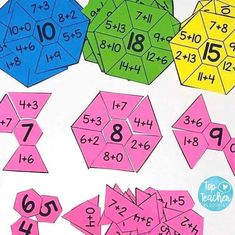 ⚡ Friday Flashback ⚡ Our addition hexagons are a great way to practise simple addition sums. Each puzzle has 8 different sums which make the middle number. Available for numbers to they make a great addition to your maths activities :ok_hand_ Math Classroom, Kindergarten Math, Teaching Math, Math Addition, Simple Addition, Addition Games, Math Stations, Math Centers, 1st Grade Centers