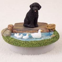 Portuguese Water Dog Candle Topper Lake