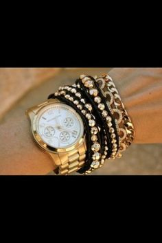 Style. Fashion look. Watches and bangles. Michael Kors