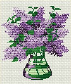 ru / Photo # 1 - Lilac in a vase - Cross Stitch Tree, Simple Cross Stitch, Modern Cross Stitch, Cross Stitch Flowers, Cross Stitch Charts, Cross Stitch Designs, Cross Stitch Patterns, Cross Stitching, Cross Stitch Embroidery