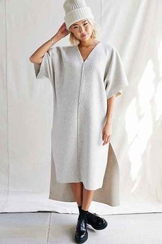 Urban Renewal Remade Cozy Deep V Dress - Urban Outfitters