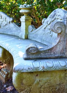 Villa Montalvo - scroll concrete garden bench