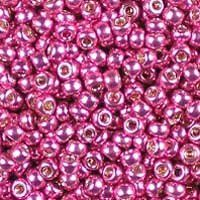 Miyuki 11/0 (2mm) Duracoat Galvanized Hot Pink glass seed beads, colour number 4210.  For purposes of comparison, these are a shade or two lighter than Miyuki's Galvanized Magenta, number 4219.  Miyuki's Duracoat galvanized beads have a longer-wearing metallic coating than regular galvanized beads.  UK seller.