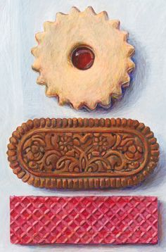 This is a giclée print reproduction of Biscuits, an original painting by Joël Penkman. It is one of an edition limited to 100 prints signed by the Cookie Drawing, Candy Drawing, Food Drawing, Joel Penkman, Food Art Painting, Gcse Art Sketchbook, Food Sculpture, Food Artists, Art Folder