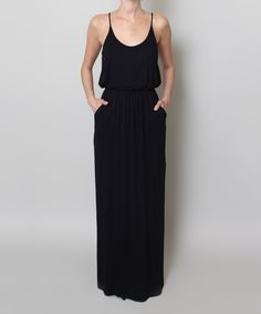 Look at this FORE Black Blouson Maxi Dress on #zulily today!