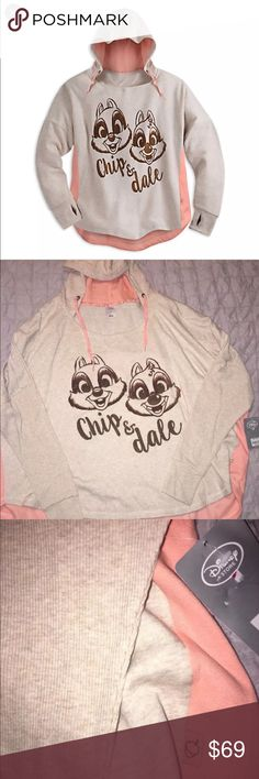 NWT Disney Chip & Dale Hoodie size 2XL XXL WOMENS Adorable Disney's Chip & Dale oversized hoodie sweatshirt in a size 2XL. This is an Authentic Disney product, purchased from the Disney Store. Brand new with tags attached! Disney Jackets & Coats