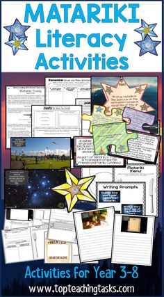 Matariki Activities – Reading, Writing, Creative Thinking Bundle. Let us save you time this Matariki and June with our New Zealand Matariki BUNDLE: Matariki literacy resources featuring Reading, Writing, and other activities! This differentiated reading and writing resource is great for your year three, year four, year five, year six, year seven and year eight classroom. Features Matariki activities for kids. {Year 2, 3, 4, 5, Te Reo, Social Studies, History, Guided Reading} Reading Activities, Guided Reading, Activities For Kids, Writing Resources, Teaching Resources, Teaching Ideas, Creative Thinking, Creative Kids, Maori
