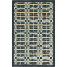 Martha Stewart Colorweave Plaid Wrought Iron Navy Wool/ Viscose Rug (9' x 12')