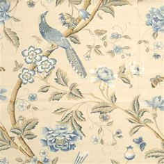 Beautiful print blue drapery and upholstery fabric by G P