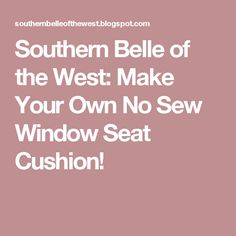 Southern Belle of the West: Make Your Own No Sew Window Seat Cushion!