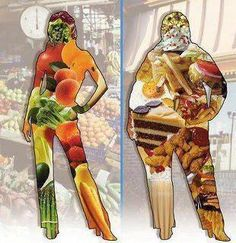 NOPE. Neither of these bodies is representative of a healthy diet, firstly, and secondly your shape on the outside is NOT indicative of your diet. How many thin people do you know that eat the kind of crap in the bigger silhouette? Y'all have got to get real about this shit.