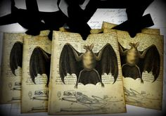 Vampire BatVintage Style Halloween Gift Tags by brandywine on Etsy, $6.00