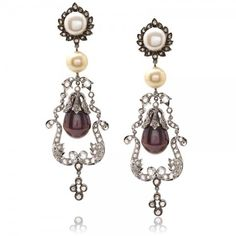 Diamond, Pearl And 18k White Gold Chandelier Earrings - J.M. Edwards Jewelry