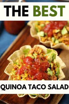 Anytime I can satisfy my cravings for tacos in a way that is healthy I am ecstatic. Quinoa Taco Salad is one of my go-to meals. I prepare the quinoa as part of my weekly meal prep, which makes this gluten-free dish super easy to put together. Quinoa Recipes Easy, Vegetarian Salad Recipes, Healthy Gluten Free Recipes, Mexican Food Recipes, Dinner Recipes, Easy High Protein Meals, High Protein Recipes, Taco Salad Bowls, Meal Prep For The Week
