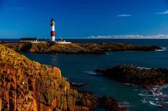 Buchan Ness Lighthouse. Hiking Bullers of Buchan to Boddam.