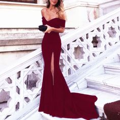 Burgundy Evening Dress,Mermaid Prom Dress,Mermaid Evening Gowns,Off Shoulder Prom Dresses,Sexy Long Formal Dresses