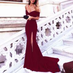 Burgundy Evening Dress,Mermaid Prom Dress,Mermaid Evening Gowns,Off Shoulder Prom Dresses,Sexy Long Formal Dresses
