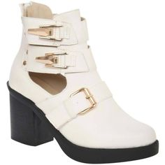 Pilot Cut Out Buckle Detail Block Heel Ankle Boot ($77) ❤ liked on Polyvore featuring shoes, boots, ankle booties, white, block heel bootie, ankle boots, block heel booties, white booties and cutout bootie