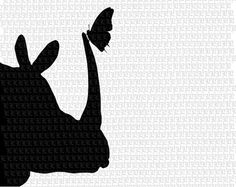 Butterfly Rhinoceros Printable Graphic Digital Download Rhino Butterfly Silhouette 2345
