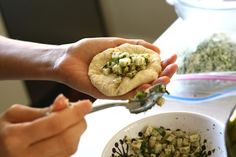 Soft Halloum and Zaatar Rolls - rolls stuffed with Halloum cheese, za'atar, and mint #recipe