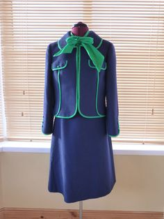 VINTAGE 1960s Rogaire navy green silk wool SUIT dress Peggy MAD MEN 12 14 M L in Clothes, Shoes & Accessories, Vintage Clothing & Accessories, Women's Vintage Clothing | eBay