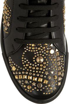 Versace|Baskets montantes en cuir clouté