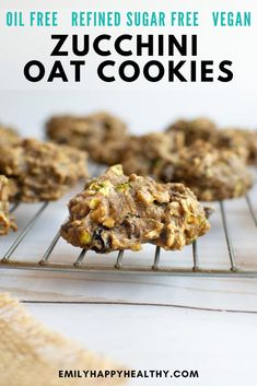 Vegan zucchini cookies with oatmeal and raisins. Healthy snack or treat with no refined sugars or oil. Zucchini Oatmeal Cookies, Oatmeal Cookie Recipes, Oat Cookies, Best Cookie Recipes, Top Recipes, Drop Cookies, Baking Recipes, Whole Food Recipes, Vegan Recipes